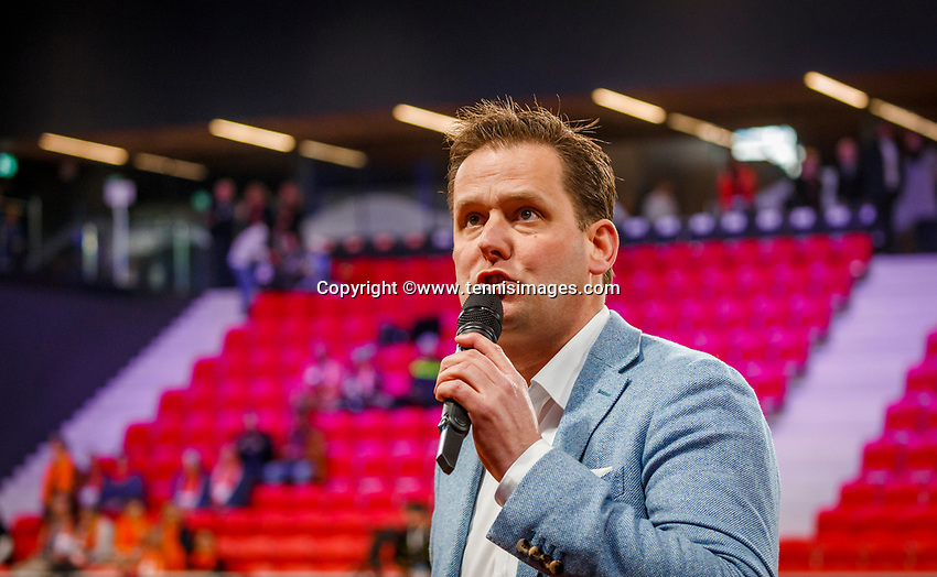 The Hague, The Netherlands, Februari 7, 2020,    Sportcampus, FedCup  Netherlands -  Balarus, speaker Alex Nelissen<br /> Photo: Tennisimages/Henk Koster