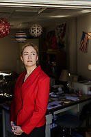 Portrait of Angie Scioli (CQ) in her modular classroom. Scioli is an award-winning Civics and U.S. Government teacher at Leesville Road High School in Raleigh, North Carolina, and a leader of the Red4EdNC group that advocates for teachers and students in North Carolina. Shot Wednesday, December 5, 2018  (Justin Cook)