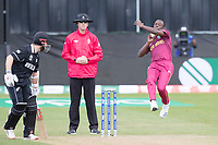 Kemar Roach in action during West Indies vs New Zealand, ICC World Cup Warm-Up Match Cricket at the Bristol County Ground on 28th May 2019