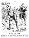 """Paradise Lost Again? Mr Asquith (to John Bull). """"Of course Mesopotamia is a beautiful place, and no one has ever been anxious to vacate the garden of Eden; But you must reflect that the cost of its upkeep has increased enormously since Adam's time."""" (an InterWar era cartoon showing John Bull in Iraq watering the Garden of Eden - Under New Management)"""