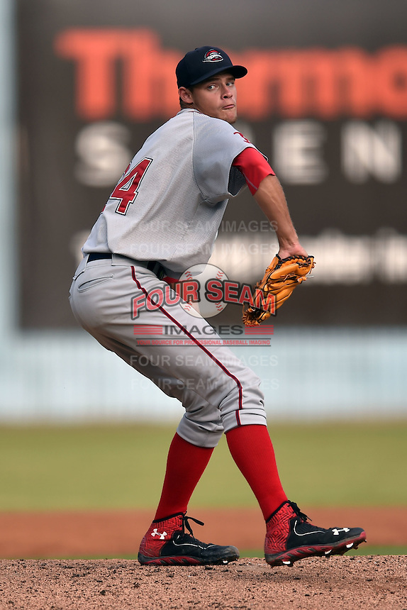 Greenville Drive starting pitcher Trey Ball #24 delivers a pitch during a game against the Asheville Tourists at McCormick Field June 26, 2014 in Asheville, North Carolina. The Tourists defeated the Drive 9-4. (Tony Farlow/Four Seam Images)