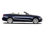 Passenger side profile view of a 2013 Audi A5 Convertible with the top down...