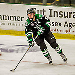 24 October 2015: University of North Dakota Defenseman Paul LaDue, a Junior from Grand Forks, ND, in third period action against the University of Vermont Catamounts at Gutterson Fieldhouse in Burlington, Vermont. North Dakota defeated the Catamounts 5-2 in the second game of their weekend series. Mandatory Credit: Ed Wolfstein Photo *** RAW (NEF) Image File Available ***
