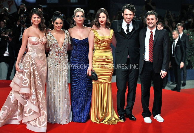 WWW.ACEPIXS.COM....US SALES ONLY....September 5, 2012, Venice, Italy.....Selena Gomez, Vanessa Hudgens, Ashley Benson, Rachel Korine, James Franco and Harmony Korine arriving at the premiere of 'Spring Breakers' on September 5, 2012 in Venice, Italy at the Venice Film Festival.........By Line: Famous/ACE Pictures....ACE Pictures, Inc..Tel: 646 769 0430..Email: info@acepixs.com