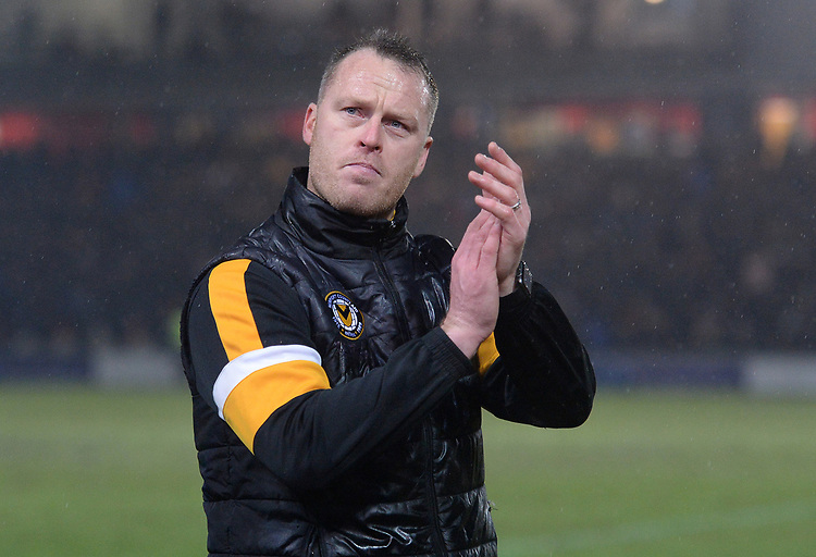 Newport County manager Michael Flynn applauds the fans at the final whistle <br /> <br /> Photographer Ian Cook/CameraSport<br /> <br /> Emirates FA Cup Fourth Round Replay - Newport County v Middlesbrough - Tuesday 5th February 2019 - Rodney Parade - Newport<br />  <br /> World Copyright &copy; 2019 CameraSport. All rights reserved. 43 Linden Ave. Countesthorpe. Leicester. England. LE8 5PG - Tel: +44 (0) 116 277 4147 - admin@camerasport.com - www.camerasport.com