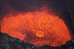 Bursting lava bubble in lava lake in bottom of Santiago Crater of rrupting Masaya Volcano, Nicaragua