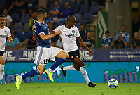 Gelson Fernandes (Eintracht Frankfurt) gegen Stefan Mitrovic (Racing Club de Strasbourg Alsace) - 22.08.2019: Racing Straßburg vs. Eintracht Frankfurt, UEFA Europa League, Qualifikation, Commerzbank Arena<br /> DISCLAIMER: DFL regulations prohibit any use of photographs as image sequences and/or quasi-video.
