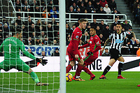Joselu of Newcastle United scores the equaliser during Newcastle United vs Swansea City, Premier League Football at St. James' Park on 13th January 2018