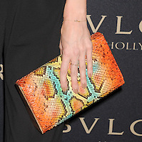 WWW.BLUESTAR-IMAGES.COM  TV personality Louise Roe (handbag, ring, bracelet detail) at the BVLGARI 'Decades Of Glamour' Oscar Party Hosted By Naomi Watts at Soho House on February 25, 2014 in West Hollywood, California.<br /> Photo: BlueStar Images/OIC jbm1005  +44 (0)208 445 8588