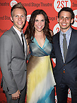 Justin Paul, Lindsey Mendez & Benj Pasek .attending the after Party for Off-Broadway Opening Night Performance of Second Stage Theatre's 'Dogfight' at HB Burger in New York City.