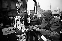 Amstel Gold Race 2012.Maastricht-Valkenburg: 256km..Jurgen van den Broeck interviewed by Carl Berteele before the race