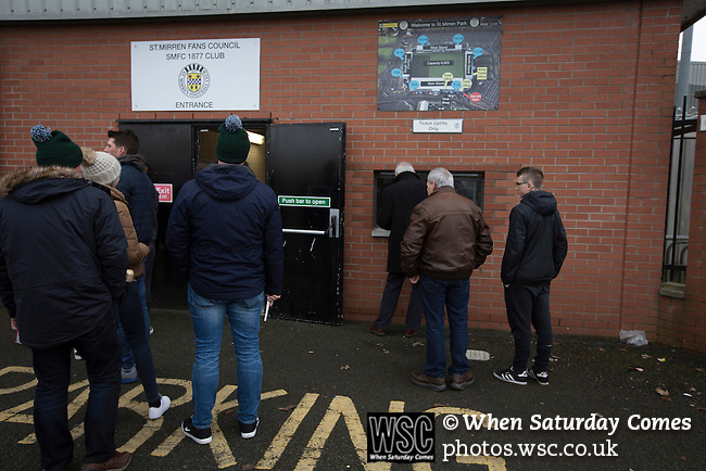 St Mirren 4 The New Saints 1, 19/02/2017. Paisley 2021 Stadium, Scottish Challenge Cup. Visiting fans collecting tickets outside the Paisley2021 Stadium before Scottish Championship side St Mirren played Welsh champions The New Saints in the semi-final of the Scottish Challenge Cup for the right to meet Dundee United in the final. The competition was expanded for the 2016-17 season to include four clubs from Wales and Northern Ireland as well as Scottish Premier under-20 teams. Despite trailing at half-time, St Mirren won the match 4-1 watched by a crowd of 2044, including 75 away fans. Photo by Colin McPherson.