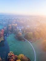France, Allier (03), Villeneuve-sur-Allier, Arboretum de Balaine en automne et à l'aube (vue aérienne) // France, Allier, Villeneuve-sur-Allier, Balaine Arboretum fall (aerial view)