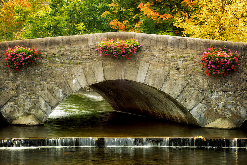 Hanging flower baskets on bridge with fall colored trees in Westport, Ireland