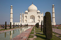Agra, India.  Taj Mahal, Fountains, and Water Channel.