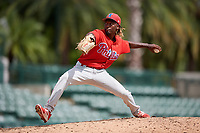 Philadelphia Phillies pitcher Jaylen Smith (12) delivers a pitch during a Florida Instructional League game against the Baltimore Orioles on October 4, 2018 at Ed Smith Stadium in Sarasota, Florida.  (Mike Janes/Four Seam Images)
