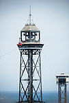 Torre Jaume I, Port Vell Aerial Tramway in Barcelona, Spain.<br />