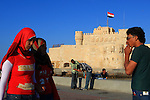 "Egyptian teenagers at ""Qaitbey"" fort in Alexandria Egypt"