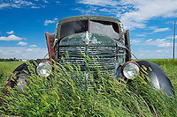 Old International truck on farm<br /> Hazenmore<br /> Saskatchewan<br /> Canada