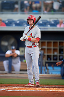 Palm Beach Cardinals left fielder J.B. Woodman (19) at bat during a game against the Charlotte Stone Crabs on April 20, 2018 at Charlotte Sports Park in Port Charlotte, Florida.  Charlotte defeated Palm Beach 4-3.  (Mike Janes/Four Seam Images)