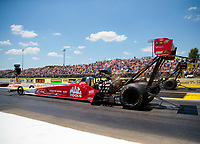 Jun 8, 2019; Topeka, KS, USA; NHRA top fuel driver Doug Kalitta during qualifying for the Heartland Nationals at Heartland Motorsports Park. Mandatory Credit: Mark J. Rebilas-USA TODAY Sports