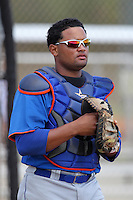 New York Mets catcher Nelfi Zapata #51 during a minor league spring training game against the Miami Marlins at the Roger Dean Sports Complex on March 28, 2012 in Jupiter, Florida.  (Mike Janes/Four Seam Images)