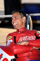 Nov 11, 2010; Pomona, CA, USA; NHRA pro stock motorcycle rider Hector Arana during qualifying for the Auto Club Finals at Auto Club Raceway at Pomona. Mandatory Credit: Mark J. Rebilas-