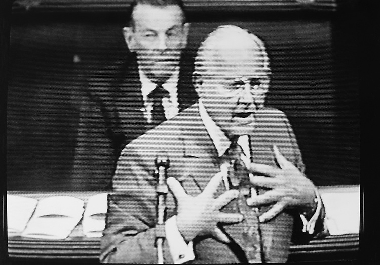Minority Leader Bob Michel, R-Ill., pleading with the members to vote for a budget resolution. October 7, 1990 (Photo by Maureen Keating/CQ Roll Call)
