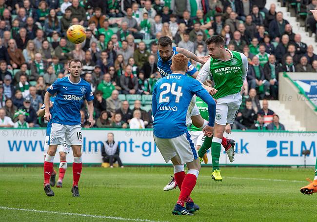 13.05.2018 Hibs v Rangers: Jamie Maclaren scores to put Hibs 3-0 up