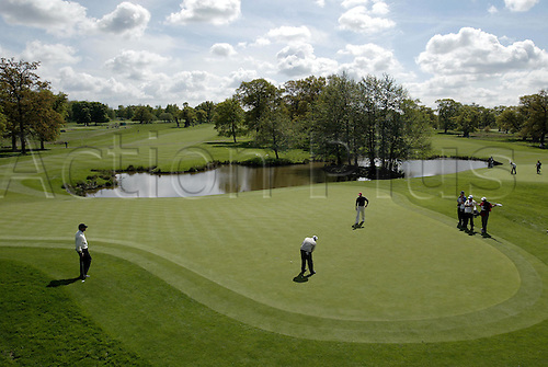 7 May 2004: A golfer putts on the 12th green during the second round of the Daily Telegraph Damovo British Masters played at the Marriott Forest of Arden, Birmingham. Photo: Neil Tingle/Action Plus..040507 golf golfer golfers putt putting green greens course courses venue venues.