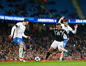 23rd March 2018, Etihad Stadium, Manchester, England; International Football Friendly, Italy versus Argentina; Manuel Lanzini of Argentina  runs at Mattia De Sciglio and Jorginho of Italy