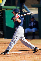 Ben Miller #2 of the Shippensburg Red Raiders follows through on his swing against the Catawba Indians at Newman Park on February 12, 2011 in Salisbury, North Carolina.  Photo by Brian Westerholt / Four Seam Images