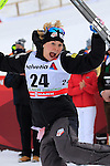 Jessica Diggins exults during the 5 Km Individual Free race of Tour de ski as part of the FIS Cross Country Ski World Cup  in Dobbiaco, Toblach, on January 8, 2016. American Jessica Diggins wins the race, ahead of Norway's Heidi Weng and third place for actual leader Ingvild Flugstad Oestberg from Norway. Credit: Pierre Teyssot