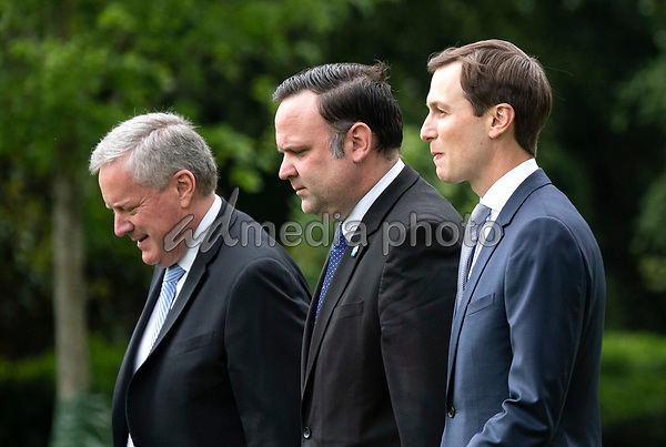 From left to right, Acting Chief of Staff Mark Meadows, Dan Scavino, White House Deputy Chief of Staff for Communications, and Jared Kushner, Presidential advisor and President Trump's son-in-law, depart the White House with President Donald Trump, in Washington, DC on Wednesday, May 27, 2020. President Trump and the First Lady are traveling to NASA's Kennedy Space Center to watch the SpaceX Mission 2 launch. <br /> Credit: Kevin Dietsch / Pool via CNP/AdMedia
