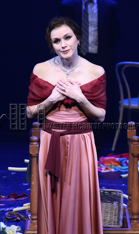 Irina Dvorovenko during the Opening Night Performance Curtain Call bows  for  'The Beast In The Jungle' at The Vineyard Theatre on May 23, 2018 in New York City.