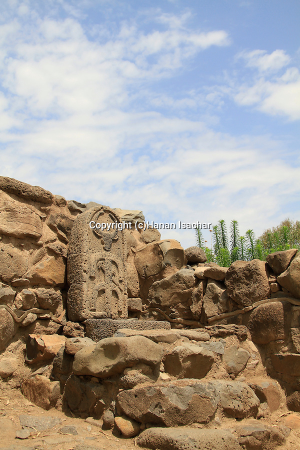 Israel, Sea of Galilee, a Stele showing a God with bull's head on Bamah at the city gate of ancient Bethsaida, Iron Age