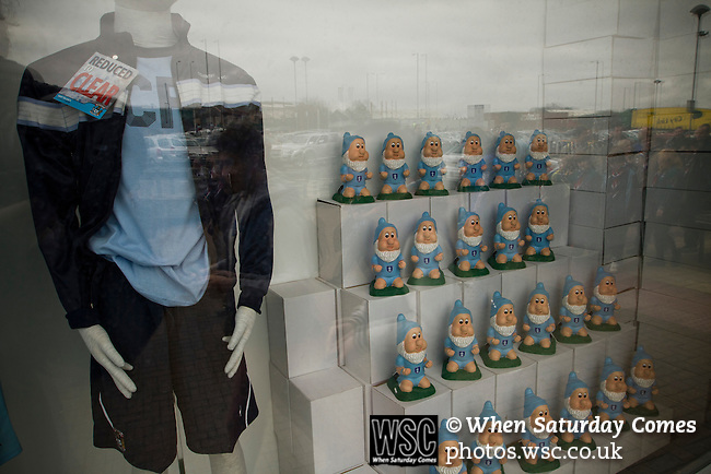 Coventry City 1 Birmingham City 1, 10/03/2012. Ricoh Arena, Championship. Home club souvenir shirts and gnomes on sale at the club shop at the Ricoh Arena, pictured before Coventry City hosted Birmingham City in an Npower Championship fixture. The match ended in a one-all draw, watched by a crowd of 22,240. The Championship was the division below the top level of English football. Photo by Colin McPherson.