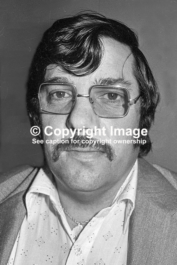 Andy Tyrie, prominent member of the UDA (Ulster Defence Association), Belfast, N Ireland, 184/77, 197705000184, paramilitary, troubles, NI, NI troubles...Copyright Image from Victor Patterson, 54 Dorchester Park, Belfast, UK, BT9 6RJ..Tel: +44 28 9066 1296.Mob: +44 7802 353836.Voicemail +44 20 8816 7153.Skype: victorpattersonbelfast.Email: victorpatterson@mac.com.Email: victorpatterson@ireland.com (back-up)..IMPORTANT: If you wish to use this image or any other of my images please go to www.victorpatterson.com and click on the Terms & Conditions. Then contact me by email or phone with the reference number(s) of the image(s) concerned.
