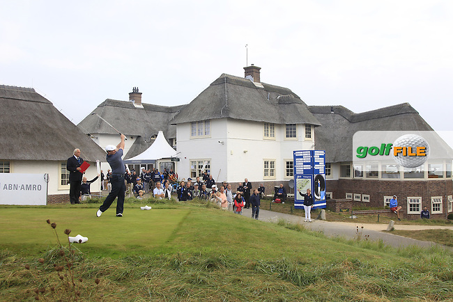Chris Doak (SCO) on the 1st tee during Round 4 of the KLM Open at Kennemer Golf &amp; Country Club on Sunday 14th September 2014.<br /> Picture:  Thos Caffrey / www.golffile.ie