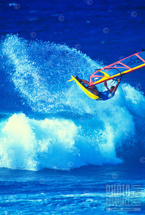 Windsurfing at world famous Hookipa Beach park, Maui
