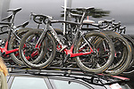 Team Ineos Pinarello Dogma F12 bikes on the team cars before the start of Stage 4 of La Vuelta 2019 running 175.5km from Cullera to El Puig, Spain. 27th August 2019.<br /> Picture: Eoin Clarke | Cyclefile<br /> <br /> All photos usage must carry mandatory copyright credit (© Cyclefile | Eoin Clarke)