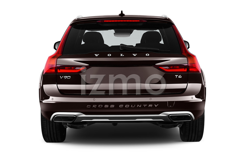 Straight rear view of a 2017 Volvo V90 Corss Country Pro 5 Door Wagon stock images