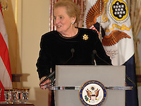 October 27, 2011  (Washington, DC)  Former Secretary of State Madeleine K. Albright speaks at the 50th Anniversary Celebration of the Diplomatic Rooms at the State Department in Washington.  (Photo by Don Baxter/Media Images International)