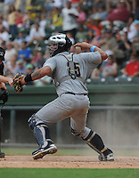 Catcher Gary Sanchez (35) of the Charleston RiverDogs, a New York Yankees affiliate, in a game against the Greenville Drive on June 24, 2012, at Fluor Field at the West End in Greenville, South Carolina. Charleston won, 7-5. Sanchez is the Yankees' No. 4 prospect, according to Baseball America. (Tom Priddy/Four Seam Images).