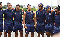 Warriors captain Roger Tuivasa-Sheck talks to his team mates.<br /> Vodafone Warriors training session. NRL Rugby League. Mt Smart Stadium, Auckland, New Zealand. Thursday 8 February 2018 &copy; Copyright Photo: Andrew Cornaga / www.photosport.nz