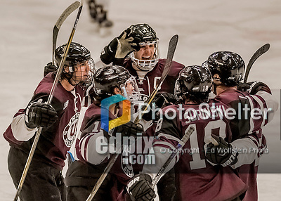 18 December 2016: Members of the Union College Dutchman celebrate a third period goal against the University of Vermont Catamounts at Gutterson Fieldhouse in Burlington, Vermont. The Dutchmen defeated their former ECAC hockey rivals 2-1, sweeping their two-game weekend series. Mandatory Credit: Ed Wolfstein Photo *** RAW (NEF) Image File Available ***
