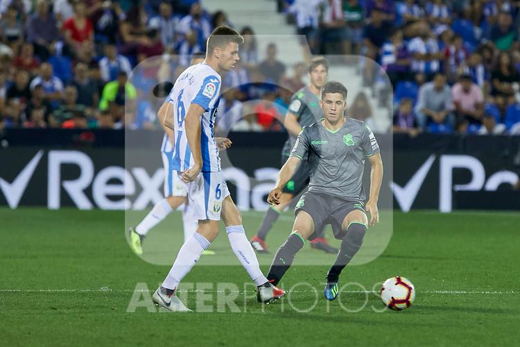 Leganes' Gerard Gumbau and Real Sociedad's Igor Zubeldia during La Liga match. August 24, 2018. (ALTERPHOTOS/A. Perez Meca)