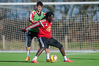 SWANSEA, WALES - FEBRUARY 17: Nelson Oliveira of Swansea City  and Bafetibis Gomis of Swansea City   in action during a training session at the Fairwood training ground on February 17, 2015 in Swansea, Wales.  (Photo by Athena Pictures )