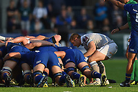 Chris Cook of Bath Rugby puts the ball into a scrum. Pre-season friendly match, between Leinster Rugby and Bath Rugby on August 25, 2017 at Donnybrook Stadium in Dublin, Republic of Ireland. Photo by: Patrick Khachfe / Onside Images