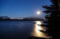 winter lanscape of full moon and moonlight on Chugach Mountains with  Turnagain Arm in foreground and Seward Highway at base of mountains   January 2014